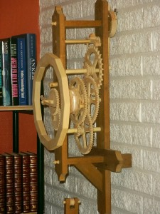 Finished clock seen from the side