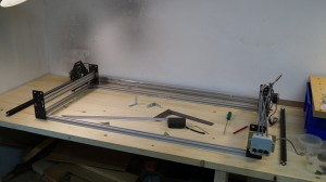 New frame with y-axis rails mounted.