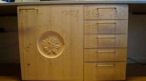 Cabinet door and drawers.