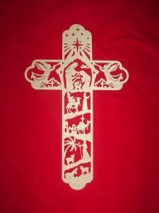 Fretwork nativity cross
